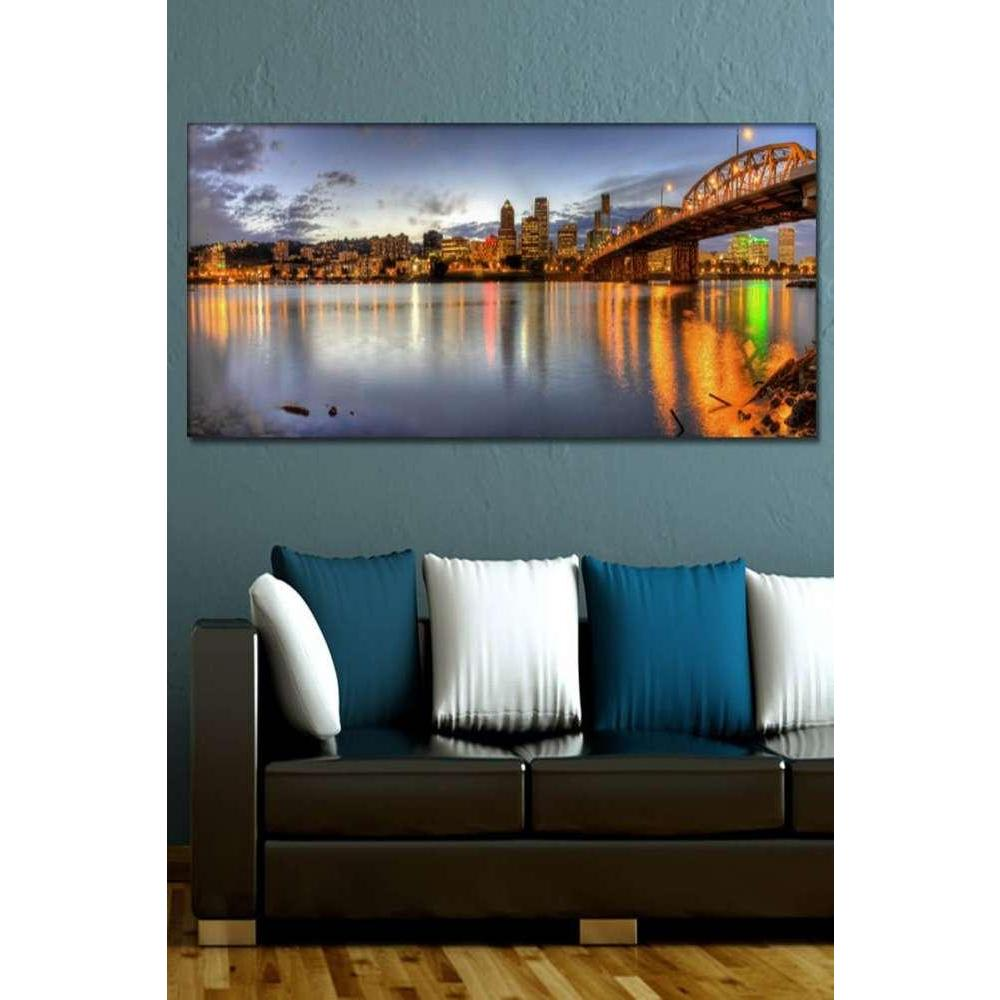 Tabloshop Portland Downtown Skyline Night Panorama Kanvas Tablo