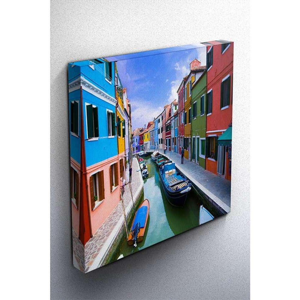 Tabloshop Venice Burano Island Canal Kanvas Tablo