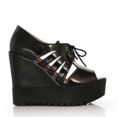 EsMODA Cc-4271 Siyah Rugan Dolgu Topuklu Ayakkabı