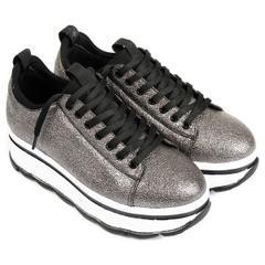 Gön 33121 Platin Kadın Dolgu Topuklu Ayakkabı