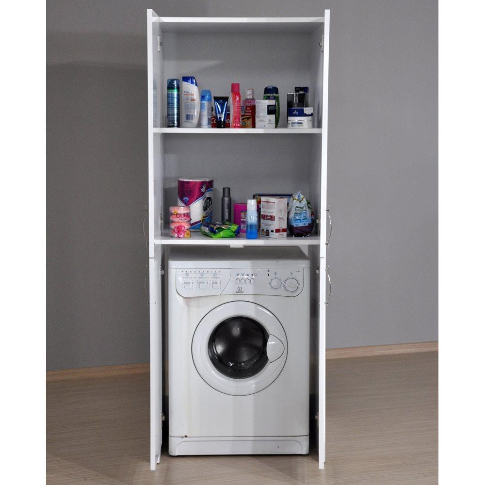 DreamWood Lola Ceviz 4 Kapaklı Çamaşır Makinesi Banyo Dolabı